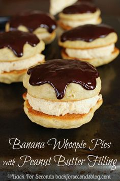 Homemade Banana Whoopie Pies with Peanut Butter Cream Filling