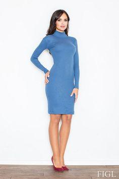 Sukienka do kolan w kolorze niebieskim o klasycznym kroju z wywijanym golfem