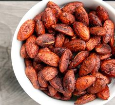 Pumpkin Pie Spiced Almonds. Made with almonds, cinnamon, pumpkin pie spice, sea salt, agave nectar or maple syrup, and vanilla.
