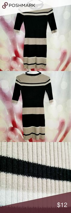 Mossimo knit dress EUC.  No flaws.  Beige, white and black stripes.  Fitted and above the knee. Mossimo Supply Co Dresses