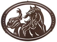 Windy the Horse Laser Cut Metal Oval Wall Art