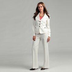 Nine West Ivory 2-piece Striped Pant Suit