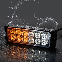 8pcs 4LED Emergency Amber Warning Work Light Bar Hazard Beacon Strobe Light 12V
