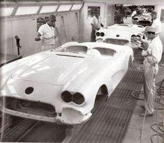 Corvette Assembly 1958 - Wow no masks. Shooting paint at your partner lol. #carpainting#allprecisioncollisionrepair.com