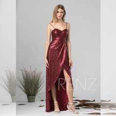 Formal Dress Maroon Bridesmaid Dress Sequin Prom Dress Long Spaghetti Straps Sweetheart with High Low Lapped Skirt Evening Evening Dresses, Prom Dresses, Formal Dresses, Spaghetti Strap Dresses, Spaghetti Straps, Maroon Bridesmaid Dresses, Wine Dress, Different Dresses, Sequin Dress