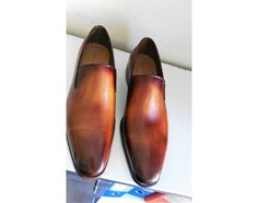 TucciPolo Mens Classic Italian leather Handmade Slip-on Tan Carnel Loafers Shoes