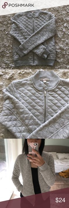 GAP Quilted Bomber Jacket Adorable and versatile quilted bomber jacket from GAP in women's XS. In great condition! Light heathered gray in color. Has two pockets. 55% polyester, 45% cotton. GAP Jackets & Coats