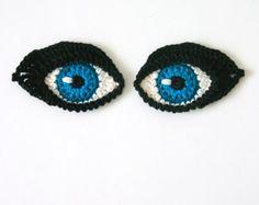 Crochet Eyes PATTERN applique / motif for dolls, amigurumi or to decorate iPad cover - ORIGINAL DESIGN by TheCurioCraftsRoom