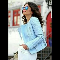 """Pastel Blue Leather Jacket! Pastels are the color of SPRING 2016!  Luckily for you I have this brand new never worn authetic leather zara jacket in pastel blue.   I've been saving it to wear but truth is it does not look good on my complexion(chocolate) soooo toast to your fabulous jacket this SPRING!   DISCLAIMER: Jacket runs small. Snug fit. I'm 5'9"""" with long arms and athletic build. Med fit perfectly. Zara Jackets & Coats"""