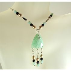 Amazonite Rain forest necklace pearls onyx sterling