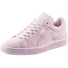 Puma Suede Classic Emboss Women's Sneakers ($70) ❤ liked on Polyvore featuring shoes, sneakers, zapatos, lilac snow, lacing sneakers, metallic sneakers, sport sneakers, laced sneakers and suede shoes