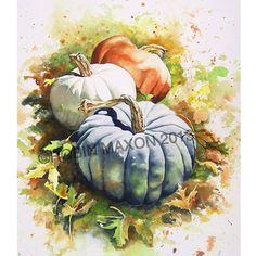 Three Pumpkins Watercolor Print by RobinMaxonWatercolor on Etsy