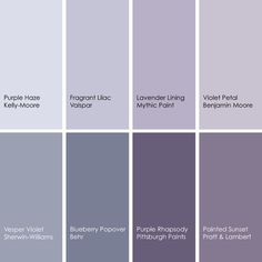 I am captivated by sea-side horizon twilight purples, and have noted their growing presence in decor...  1. Purple Haze KM3065-1, Kelly-Moore 2. Fragrant Lilac 4001-5B, Valspar 3. Lavender Lining 006-4, Mythic Paint 4. Violet Petal 1382, Benj...