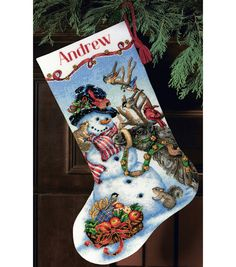 Create a lovely cross-stitched tree decoration using the Dimensions Gold Collection Snowman Gathering Stocking Counted Cross Stitch Kit 18 Count 13 x Featuring a cheerful festive design of a smili Cross Stitch Christmas Stockings, Cross Stitch Stocking, Christmas Stocking Kits, Xmas Stockings, Christmas Cross, Santa Stocking, Counted Cross Stitch Kits, Cross Stitch Embroidery, Cross Stitch Patterns
