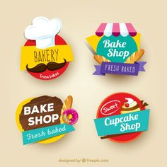 Set de pegatinas de colores de panadería Vector Gratis
