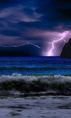 Lightening over mountains and sea  Mother nature