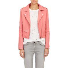 IRO Lambskin Moto Jacket (420 AUD) ❤ liked on Polyvore featuring outerwear, jackets, pink, rider jacket, lamb leather jacket, pink moto jacket, iro jacket and asymmetrical jacket
