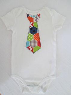 Hexagon print Tie applique one piece baby by NurseriesbyMimi, $20.00