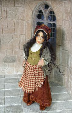 Market wife or witch, original 1/12th miniature dollhouse posable figure by Silke Janas-Schloesser