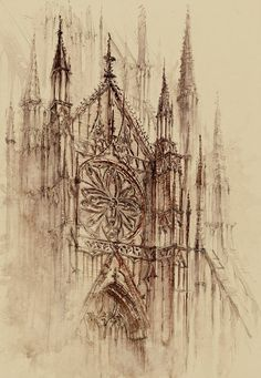 Gothic and Steampunk style Architecture with Ink and Watercolor Illustrations Cathedral – Gothic and Steampunk style Architecture Drawings by Elwira Pawlikowska Cathedral Architecture, Ancient Greek Architecture, Steampunk, Architecture Drawings, Art And Architecture, Monumental Architecture, Watercolor And Ink, Watercolor Illustration, Cathedral Tattoo