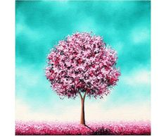 Pink Cherry Blossom Tree Painting, Original Oil Painting, Whimsical Landscape Painting, Contemporary Textured Tree Art, Beauty In the Bloom Pink Cherry Blossom Tree, Cherry Blossom Painting, Blossom Trees, Cherry Tree, Nature Paintings, Landscape Paintings, Tree Paintings, Oil Painting Trees, Acrylic Paintings
