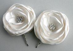 Ivory Flower Hair Clips For Wedding - Wedding Hair Accessories - Bridal Hair Piece - Flower Hair Pins