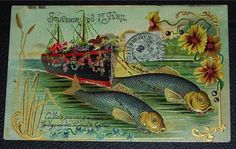 French Edwardian postcard from April 1 1906. #vintage #April_Fools_Day #fish