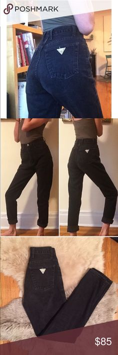 """Vintage Washed Black Guess Jeans 24 Amazing and GORGEOUS vintage washed black Guess Jeans! 24"""" waist, 12"""" rise, 31"""" inseam! Great quality vintage denim! The jeans have a great relaxed mom jeans fit. Upon purchase, I can cut off and fray the hem to any measurement if you'd like. Seriously BEAUTIFUL jeans! Not Ref. Always cheaper on ♏️! Reformation Jeans"""