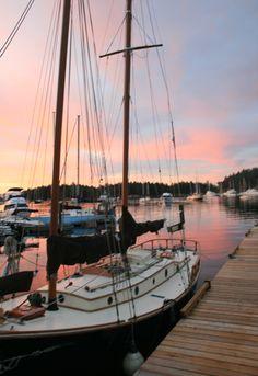 Sunset off our docks on Gabriola Island.