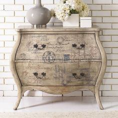 The epitome of romantic design, this Hidden Treasures Script Bombe Chest by Hammary will make a lovely addition in your foyer, living room, bedroom or four season porch. The bombe silhouette and curved apron creates a timeless, feminine feel that will bri Upcycled Furniture, Shabby Chic Furniture, Furniture Projects, Furniture Makeover, Painted Furniture, Bedroom Furniture, Diy Furniture, Furniture Design, Bedroom Decor