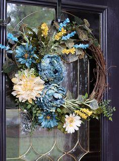 Spring wreath for front door, Farmhouse Style wreath, Year round wreath, Spring door wreath, All Sea Double Door Wreaths, Spring Front Door Wreaths, Fall Wreaths, Shabby Chic Kranz, Corona Floral, Cottage Style Decor, Year Round Wreath, Fall Door, Sunflower Wreaths
