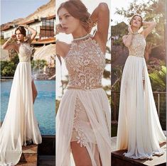 SheerGirl wedding A-line Lace Beach Wedding Dresses with Slit Ivory Backless Sex. - SheerGirl wedding A-line Lace Beach Wedding Dresses with Slit Ivory Backless Sexy Summer Wedding Dr - Lace Beach Wedding Dress, Rustic Wedding Dresses, Long Wedding Dresses, Perfect Wedding Dress, Wedding Gowns, Bridesmaid Dresses, Lace Wedding, Backless Wedding, Wedding Bridesmaids