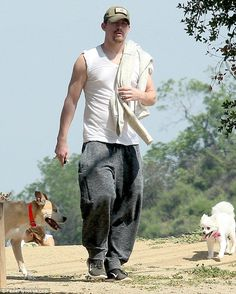 Leading the way:Channing Tatum was seen enjoying a family stroll with his pet pooches on Saturday.22 March 2015