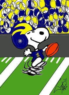 This combined two things, my favorite College Sports team and Snoopy! It was a good luck charm for my Girlfriend for the season Snoopy Wearing Maize and Blue University Of Michigan Athletics, Michigan Wolverines Football, Mountaineers Football, U Of M Football, College Football Teams, Collage Football, Football Quotes, Michigan Go Blue, Michigan Gear