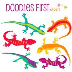 Colorful Geckos Digital Clip Art for Scrapbooking Card Making