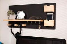 Painel de Recados e Porta-Chaves Chat - Cru Fosco e Quadro Negro