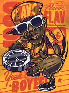 Flavor Flav portrait for Fresh Licks mucis inspired group shop. Arte Do Hip Hop, Hip Hop Art, Graffiti Cartoons, Graffiti Characters, Flavor Flav, Rapper Art, Dope Art, Street Art Graffiti, Concert Posters