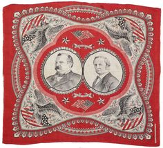"""Vibrant red and black printed cotton bandana. Features jugate depicting the Democratic Party's 1884 candidates Cleveland and Hendricks. Ornament includes four federal eagles with shields, two U.S. flags, and multiple framing devices. Bears manufacturer's imprint at bottom right """"Martha. Washington. S.H. Greene & Sons."""