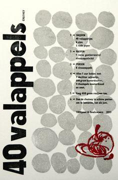 handgedrukte grafiek Appel Chutney  recept door Drukkerij de 1000poot
