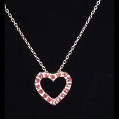 "NWOT 18"" Sterling Pink Floating Heart Necklace Sterling silver chain sports Open Floating Heart Slide with Pink CZs. This Heart speaks the language of love so beautifully! Jewelry Necklaces"