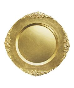 Take a look at this Gold Leaf Charger Plate - Set of Four today!