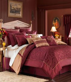 Croscill Home Chimayo King Comforter Set, Spice (Kitchen) Burgundy Bedroom, Gold Bedroom, Master Bedroom, Burgundy Bedding, Pretty Bedroom, Master Suite, Mexican Style Bedrooms, Bedroom Themes, Bedroom Decor