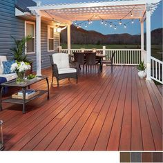 What do you look for in a backyard patio deck design? Is the deck going to be constructed of wood? Patio Decor, Small Backyard, Patio Design, Deck Colors, House Deck, Deck Designs Backyard, Deck With Pergola