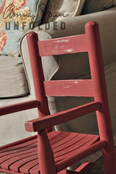 Chalk Paint® decorative paint by Annie Sloan decorative paint in Scandinavian Pink is so sweet for little girls! Chalk Paint Chairs, Painted Chairs, Annie Sloan Painted Furniture, Annie Sloan Chalk Paint, Furniture Inspiration, Color Inspiration, Red Rocking Chair, Distressing Chalk Paint, Homemade Chalk Paint