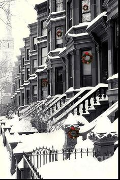 NYC. Snowy, cold Brooklyn at Christmas