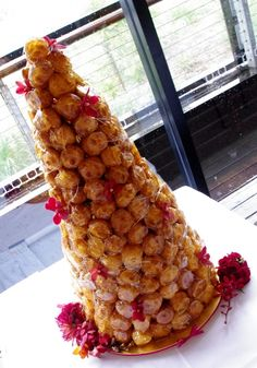 Croquembouche - traditional French wedding cake. Very tasty - but very hard to serve!