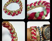 "Chain and Sideways Cross Bracelet in ""Sunshine"". $20.00, via Etsy."