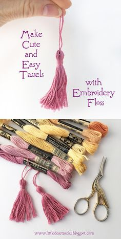 Make a cute mini tassel using embroidery floss with this easy free tutorial! Make a cute mini tassel using embroidery floss with this easy free tutorial! Diy Embroidery Floss Tassel, Hand Embroidery Patterns, Embroidery Stitches, Embroidery Designs, Embroidery Tattoo, Geometric Embroidery, Simple Embroidery, Embroidery Jewelry, Embroidery Ideas