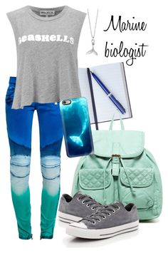 """""""Marine Biologist"""" by micuwinter ❤ liked on Polyvore featuring Smythson, T-shirt & Jeans, Balmain, London Manori, Wildfox and Casetify"""