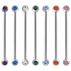 The 14 gauge side cz industrial barbell is made from stainless steel with external threading. Choose your gem color below. Industrial Barbell, 316l Stainless Steel, Body Jewelry, Piercings, Gems, Color, Tattoos, Peircings, Piercing
